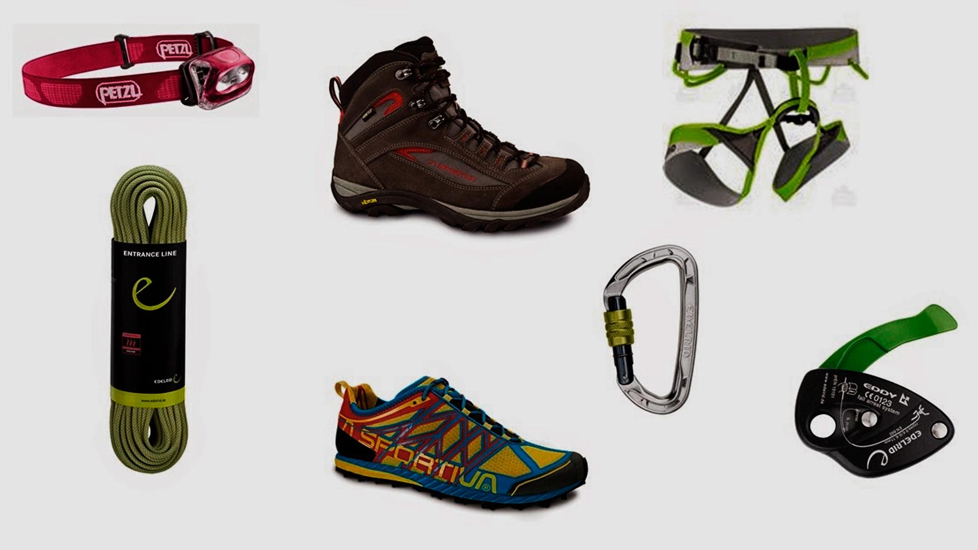 Imagens dos principais equipamentos utilizados para praticar escalada com segurança.
