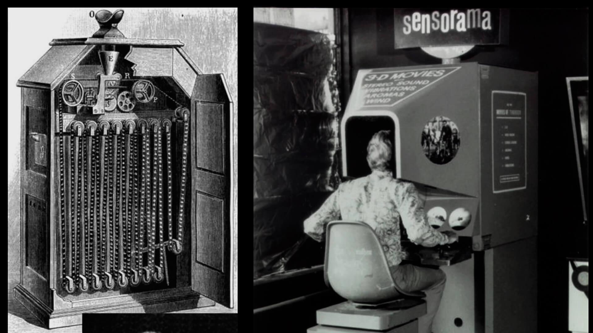 Ilustrações antigas do sensorama, equipamento que hoje é reconhecido como o ponta pé inicial da realidade virtual. Na esquerda tem a ilustração do equipamento mostrando a parte interna da tecnologia. Na direita tem uma moça sentada e utilizando o equipamento.