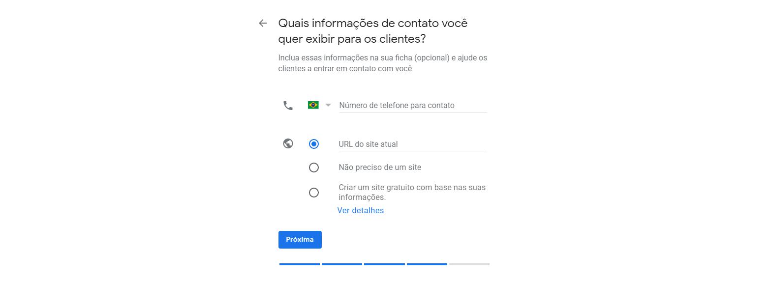 Nono passo para cadastrar empresa no Google Meu Negócio. nesta tela coloca as informações de contato e site.