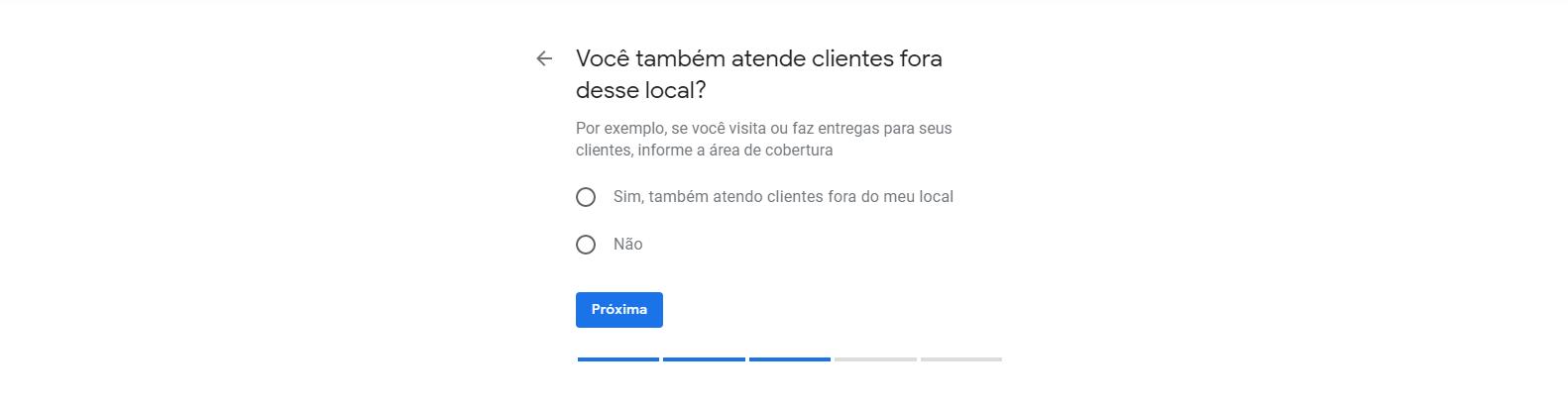 Oitavo passo para cadastrar empresa no Google Meu Negócio. Nesta tela você indica se faz entregas ou visita clientes.