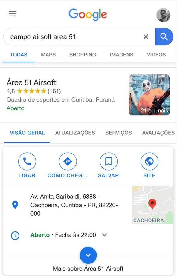 """Resultado da pesquisa """"campo de airsoft area 51"""" feita no Google"""