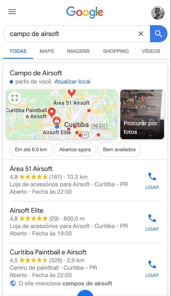 """Resultados da pesquisa """"campos de airsoft"""" no google"""
