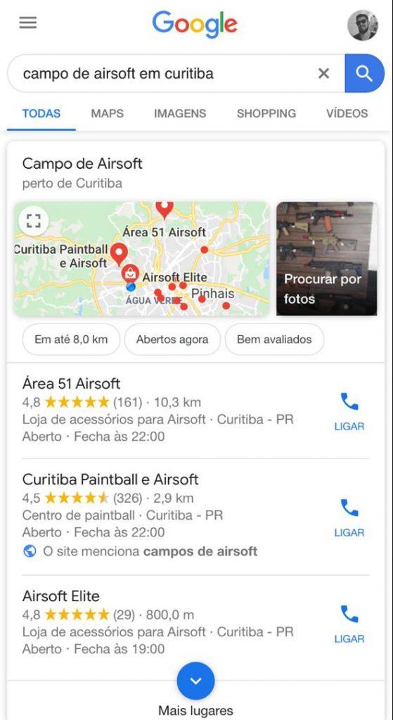 """Resultados da pesquisa """"campo de airsoft em curitiba"""" no Google"""