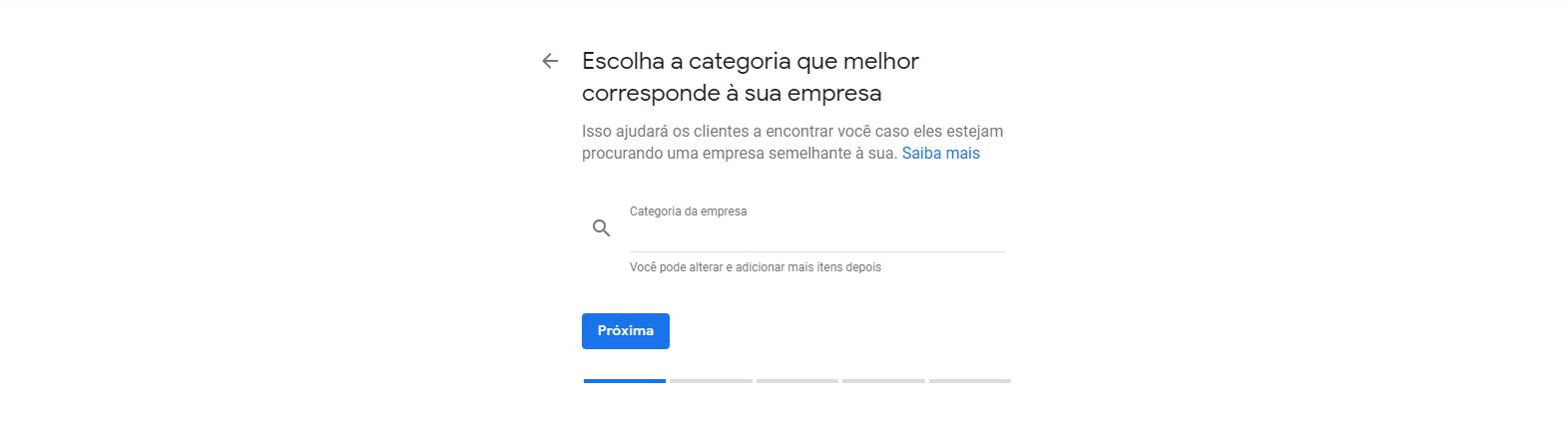 Quarto passo para cadastrar empresa no Google Meu Negócio. Nesta tela você determina as categorias que sua empresa se encaixa.