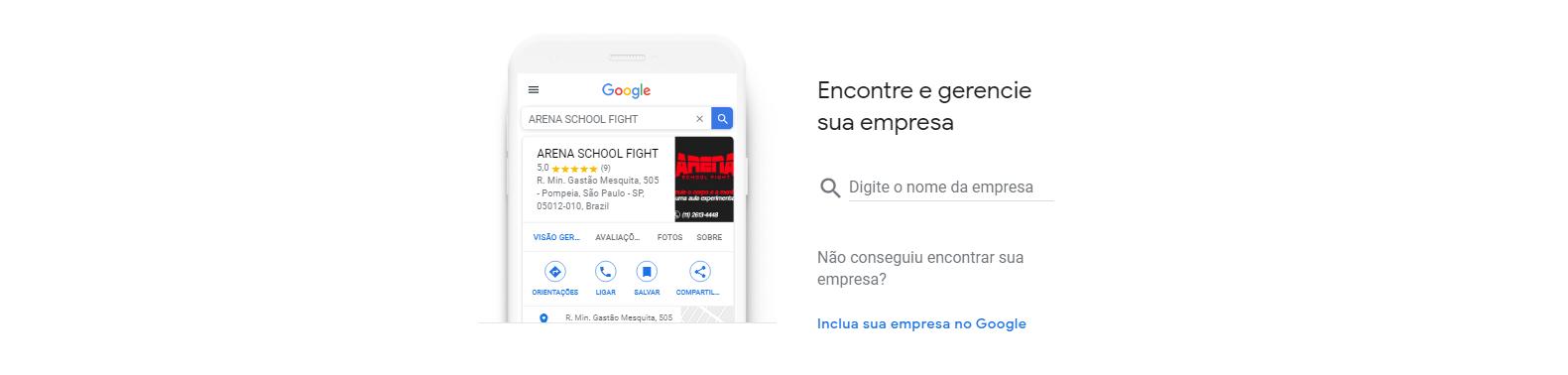Segundo passo para cadastrar empresa na Google Meu Negócio, onde tem o campo para procurar sua empresa ou criar uma nova.