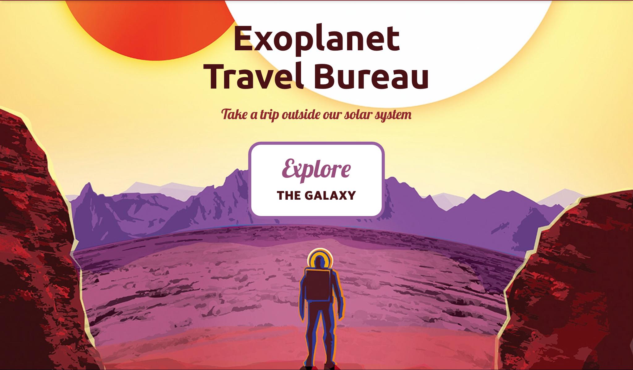 """A imagem é uma ilustração, onde um astronauta está na superfície de um outro planeta. Na imagem está escrito """"explore a galaxia""""em inglês."""