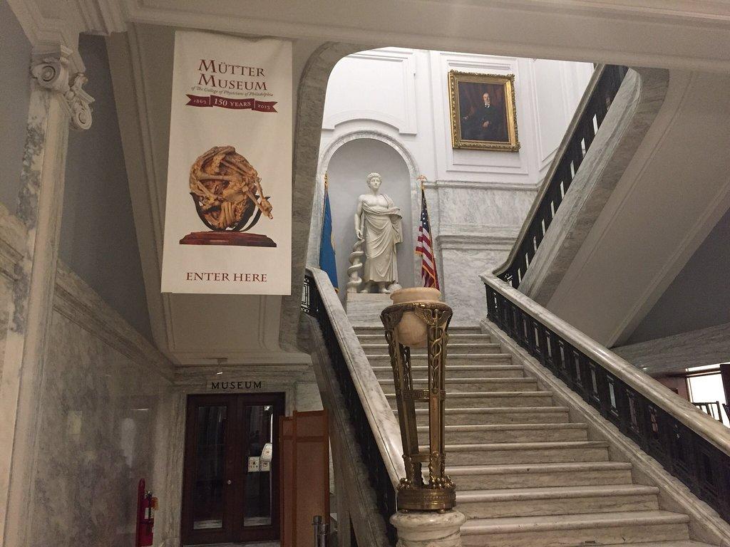 """Na imagem há uma escada e uma placa dizendo """"Museu Mutter, entre por aqui"""" logo abaixo da placa tem uma porta."""